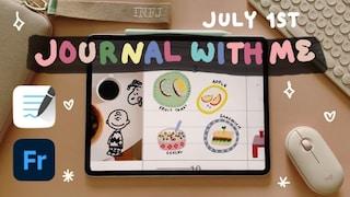 iPad VLOG | 7월1주 아이패드x굿노트 다이어리 속지 꾸미기  어도비 프레스코 유화느낌 스티커 만들기 & 무료 공유
