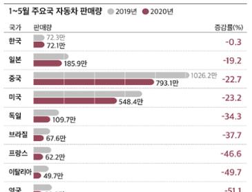 올해 한국 자동차 판매 감소폭 전세계에서 가장 낮아…바뀌는 글로벌 차 지도