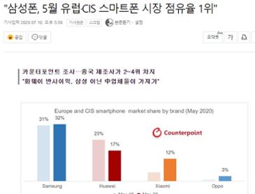 삼성 유럽 스마트폰 점유율 1위