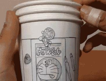 종이컵으로 만든 도라에몽 애니메이션