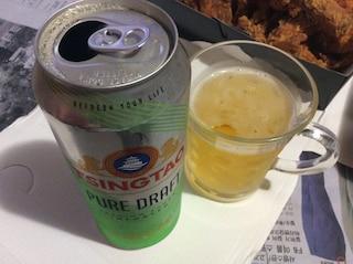칭따오 퓨어 드래프트(생) 치맥으로 즐기다.