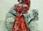 여성의 화려한 드레스를 걷어내는 자동차