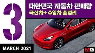 2021년 3월 국산차+수입차 판매순위...물량폭발한 테슬라 모델3, 그랜저 앞지른 카니발, 카니발 위에는?