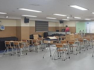 중학교 음악실 음향 시스템 설치 마그낫 템푸스 77 5.1채널 스피커오 데논 AVR-X1600H 7.2채널 AV리시버