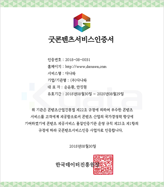 콘텐츠제공서비스 품질인증서