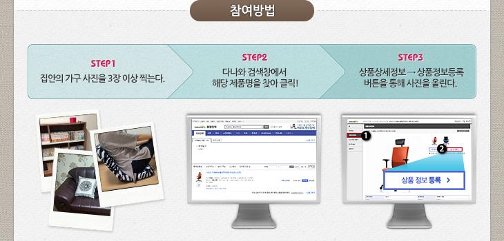 참여방법 STEP1 집안의 가구 사진을 3장 이상 찍는다. STEP2 다나와 검색창에서 해당 제품명을 찾아 클릭! STEP3 상품상세정보->상품정보등록 버튼을 통해 사진을 올린다.