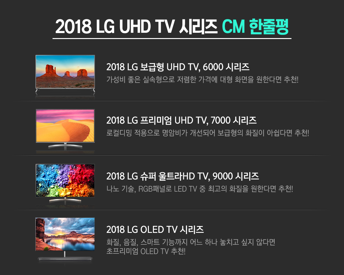 2018 LG UHD TV 시리즈 CM 한줄평