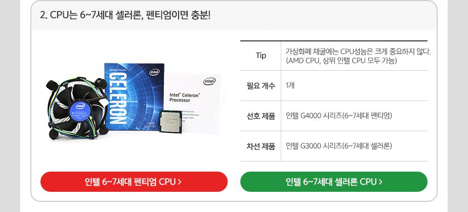 2. CPU는 6~7세대 셀러론, 펜티엄이면 충분!