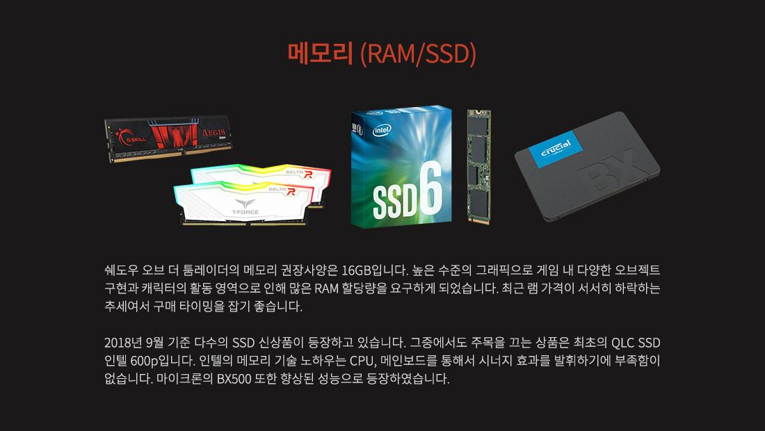 메모리 (RAM/SSD)