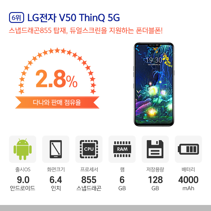 6위 l LG전자 V50 ThinQ 5G