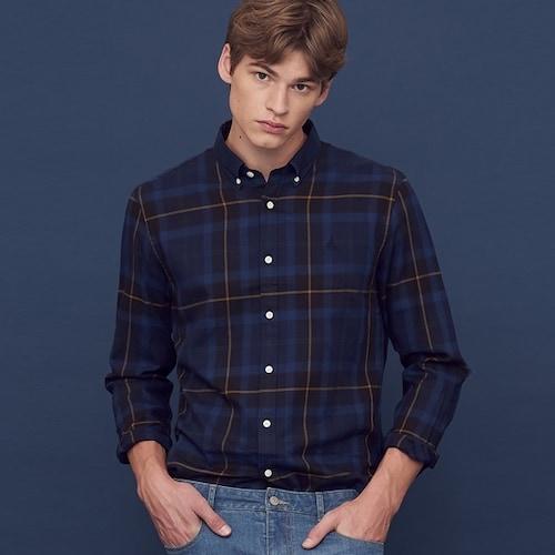 빈폴 네이비 컬러 헤릿 체크 셔츠