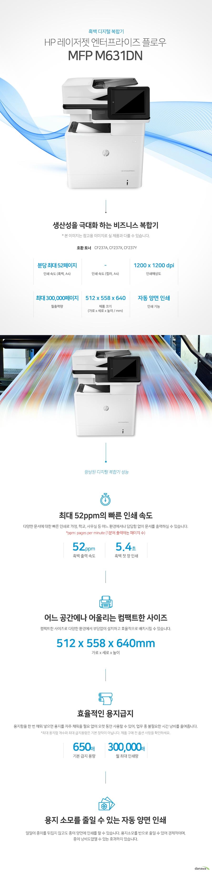 흑백 디지털 복합기 HP 레이저젯 엔터프라이즈 플로우 MFP M631dn  생산성을 극대화 하는 비즈니스 복합기 * 본 이미지는 참고용 이미지로 실 제품과 다를 수 있습니다. 호환 토너 CF237A, CF237X, CF237Y    인쇄속도 (흑백,A4) 분당 최대  52페이지 / 인쇄해상도 1200 x 1200 dpi / 월출력량 최대 300,000페이지 / 제품 크기 (가로 x 세로 x 높이 / mm) 512 x 558 x 640 / 인쇄 기능 자동 양면 인쇄  향상된 디지털 복합기 성능 최대 52ppm의 빠른 인쇄 속도 다양한 문서에 대한 빠른 인쇄로 가정, 학교, 사무실 등 어느 환경에서나 답답함 없이 문서를 출력하실 수 있습니다. *ppm: pages per minute (1분에 출력하는 페이지 수) 흑백 출력속도 52ppm / 흑백 첫장 인쇄 5.4초   어느 공간에나 어울리는 컴팩트한 사이즈 컴팩트한 사이즈로 다양한 환경에서 부담없이 설치하고 효율적으로 배치시킬 수 있습니다. 512 x 558 x 640mm 가로 x 세로 x 높이   효율적인 용지급지 용지함을 한 번 채워 넣으면 용지를 자주 채워줄 필요 없이 오랫 동안 사용할 수 있어, 업무 중 불필요한 시간 낭비를 줄여줍니다.  *최대 용지함 개수와 최대 급지용량은 기본 장착이 아닙니다. 제품 구매 전 옵션 사항을 확인하세요. 기본 급지 용량 650매 / 월 최대 인쇄량 300000매  용지 소모를 줄일 수 있는 자동 양면 인쇄 일일이 종이를 뒤집지 않고도 종이 양면에 인쇄를 할 수 있습니다. 용지소모를 반으로 줄일 수 있어 경제적이며, 종이 낭비도없앨 수 있는 효과까지 있습니다.   사무환경에 맞는 인쇄, 복사, 스캔 기능 인쇄, 복사, 스캔 기능을 결합하여 불필요한 시간 절약은 물론, 더욱 효율적인 처리가 가능합니다.   손쉬운 USB연결 PC를 거치지 않고도 USB Port에서 파일을 바로 출력하거나, 스캔시 USB 메모리로 바로 저장하여 손쉽게 이용할 수 있습니다.  유선랜 연결로 편리한 인쇄 프린터와 PC를 유선랜으로 연결하여 사용하는 PC에서 손쉽게 인쇄가 가능합니다.