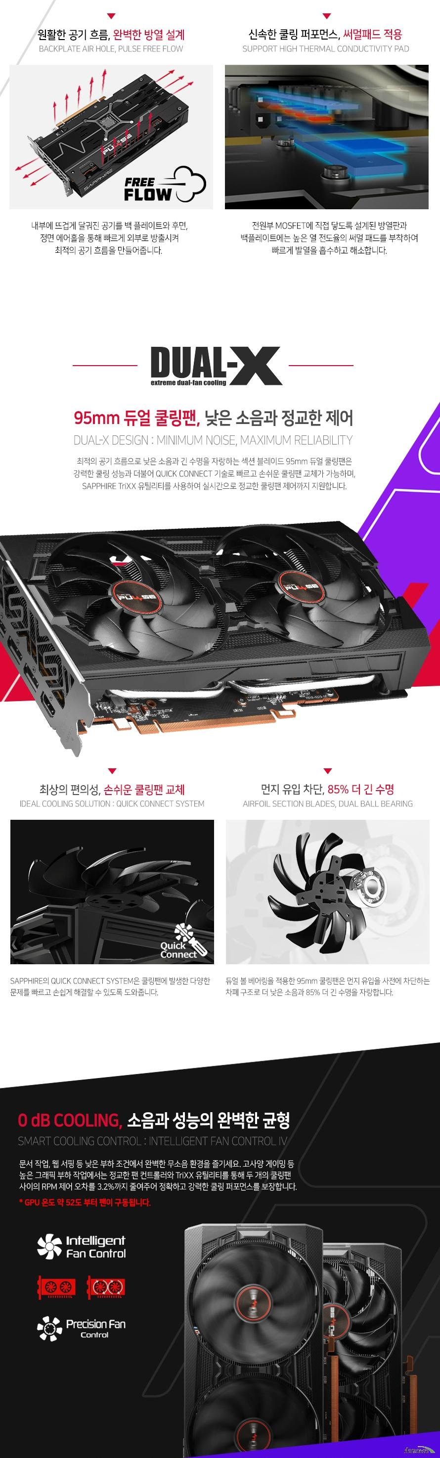 SAPPHIRE  라데온 RX 5500 XT PULSE OC D6 8GB Dual-X