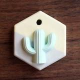 더램캔들 투톤 미니육각 선인장 석고방향제 + 리필오일 15ml  (1개)