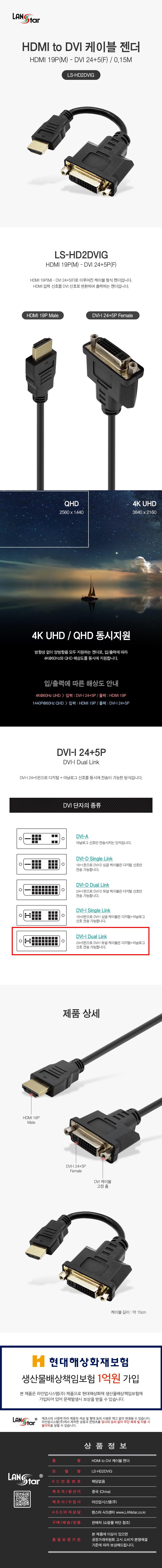 라인업시스템 LANSTAR LS-HD2DVIG HDMI to DVI 젠더 (0.15m)