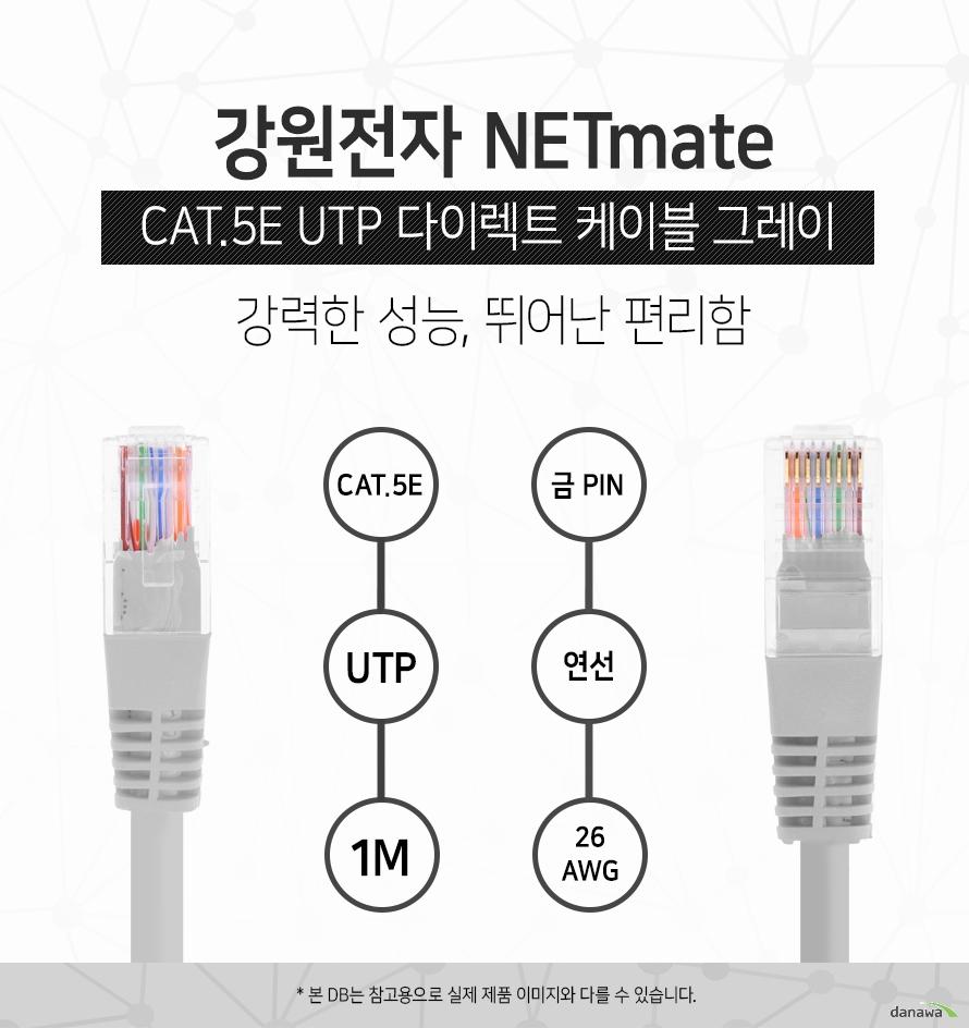강원전자 NETMATE            CAT 5E UTP 다이렉트 케이블 그레이            강력한 성능 뛰어난 편리함                        CAT 5E            UTP            1M            금핀            연선            26 AWG                        본 디비는 참고용으로 실제 제품 이미지와 다를 수 있습니다.