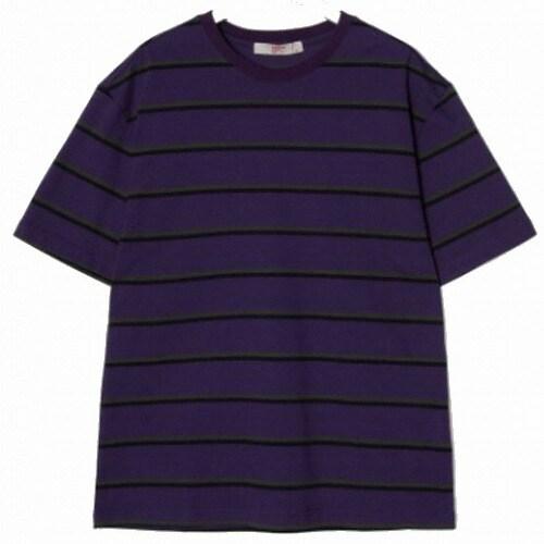 에잇세컨즈 남성 바이올렛 코튼 스트라이프 티셔츠 269442CY7S_이미지