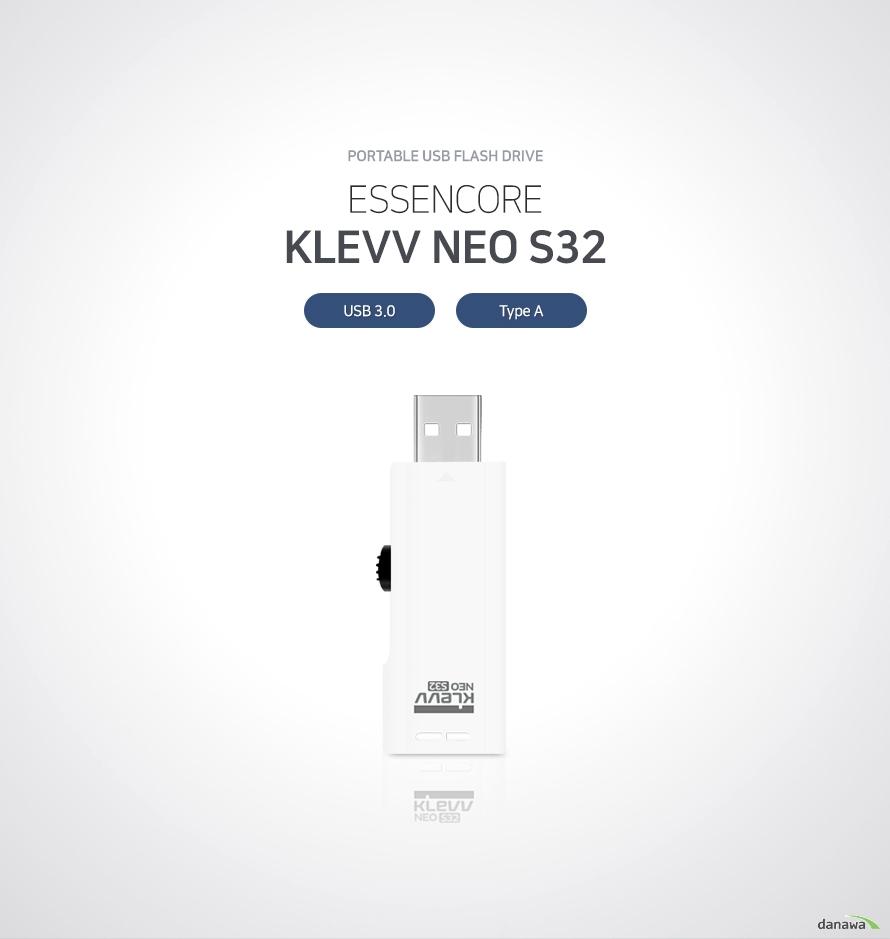 portable usb flash drive ESSENCORE KLEVV NEO S32 USB 3.0 Type A  휴대성, 저장성, 안정성을 갖춘 고성능 휴대용 USB 플래시 드라이브 작은 크기와 가벼운 무게로 휴대하기 간편하며 여유로운 저장 공간으로 문서, 사진, 영상 파일을 담아 다닐 수 있습니다. 심플한 구조로 설계되어 안정성 또한 뛰어납니다.   뛰어난 휴대성 뛰어난 휴대성으로 언제 어디서나 간편하게 사용 넉넉한 저장 공간 여러 문서, 음악, 영상 파일을담을 수 있는 넉넉한 저장 공간 제공 안정적인 구조 심플한 내부 구조 설계로 잔고장 없이 안정적인 작동  컴팩트 디자인으로 휴대성을 높였습니다 지갑이나 바지 주머니, 백팩 포켓 등 다양한 곳에 넣어 보관하기 용이하도록 작은 크기로 제작되었습니다.   문서, 사진, 영상 모두 담을 수 있습니다 넉넉한 저장 공간에 수 많은 문서, 고해상도 사진, 고용량 영상을 간편하게 보관할 수 있습니다.   심플한 내부 구조 안정적인 USB 메모리 내부 구조가 간단하며 기계적으로 작동하는 부분이 없기 때문에 잔고장 없이 안정적으로 사용하실 수 있습니다.   뚜껑 분실 걱정 없는 슬라이드형 구조 슬라이드형 USB는 결합부위를 밀어서 보관할 수 있는 제품으로, 뚜껑 분실의 우려가 있는 뚜껑형 USB에 비해 안정적으로 보관할 수 있습니다.