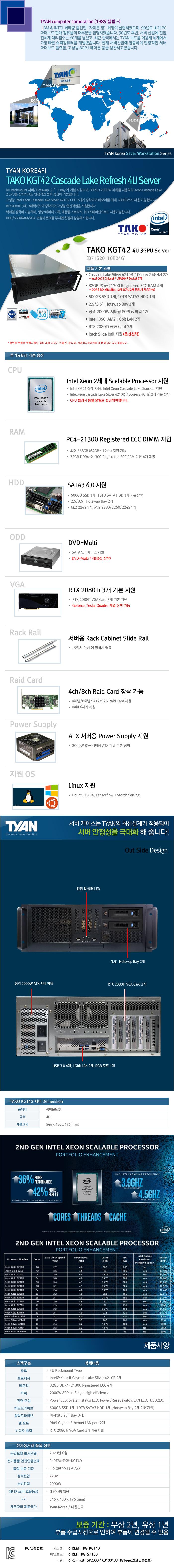 TYAN TAKO-KGT42-(B71S20-10R24G) 3GPU (128GB, SSD 500GB + 10TB)