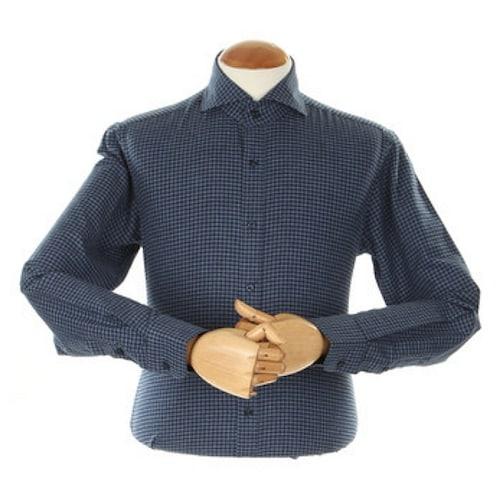 지엠아이 밴브루 트윌 멜란체크 기모 와이드 네이비 슬림 셔츠 BGFSL2102NY_이미지