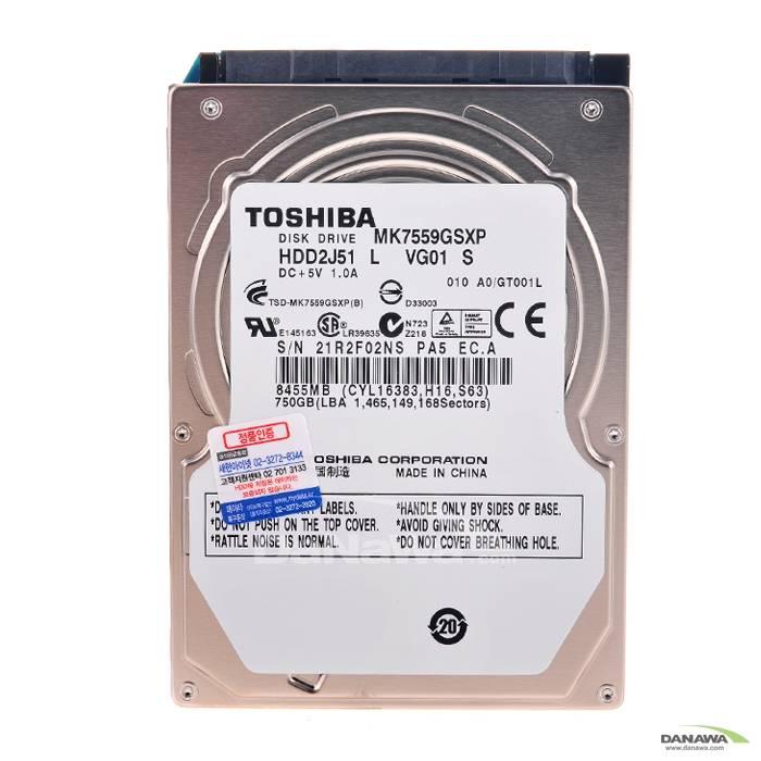 Toshiba  750GB MK7559GSXP (SATA2/5400/8M/노트북용)_이미지