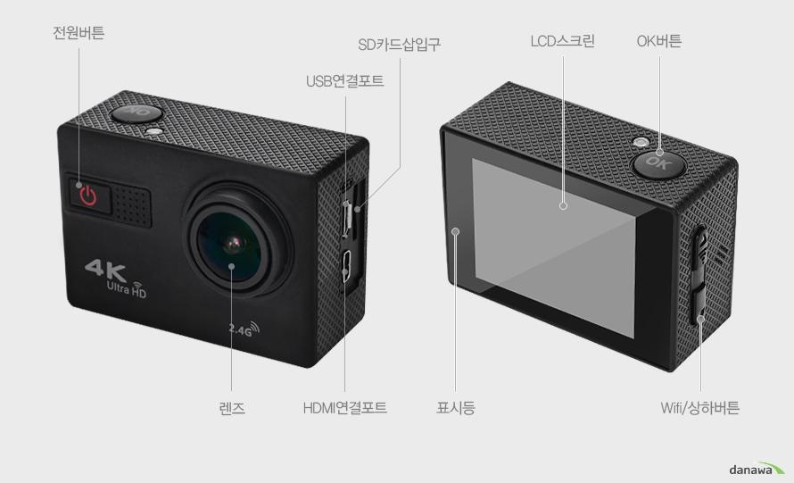 전원버튼/렌즈/USB연결포트/HDMI연결포트/SD카드삽입구/표시등/LCD스크린/OK버튼/Wifi/상하버튼