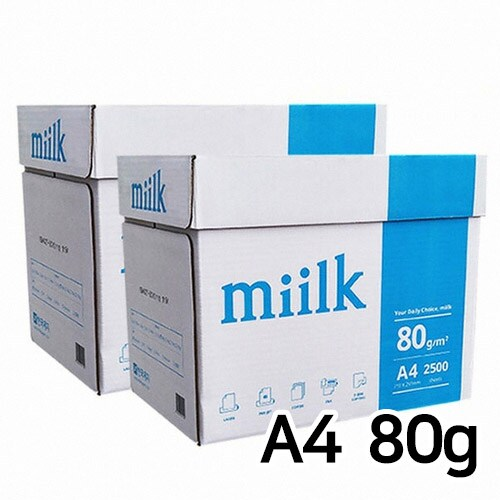 한국제지  밀크 복사용지 A4 80g 500매 (10개, 5000매)_이미지