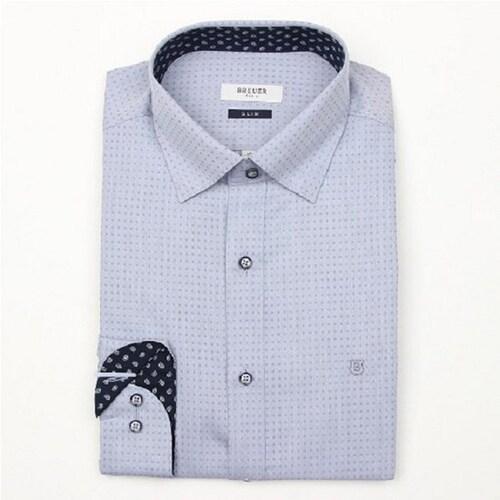에스제이듀코 브로이어블루 히든스냅 도트 도비 패턴 슬림핏 긴팔 셔츠 ED6FM52LS747ENY_이미지