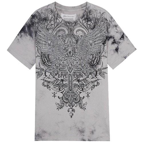 버커루 30수 십자수 WING R넥 티셔츠 B202TS391P_이미지