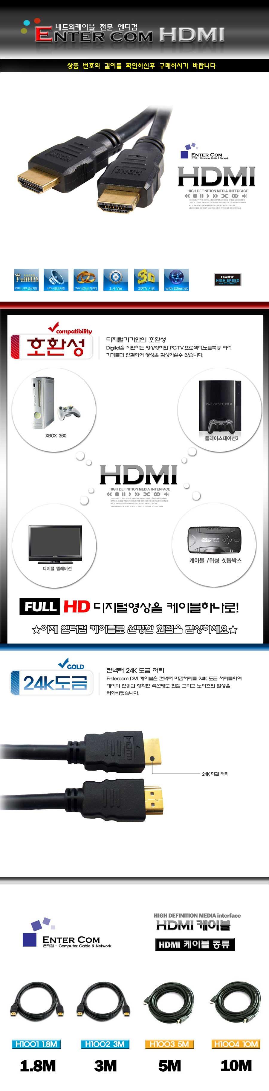 엔터컴 HDMI Ver 2.0 일반형 케이블 (3m)