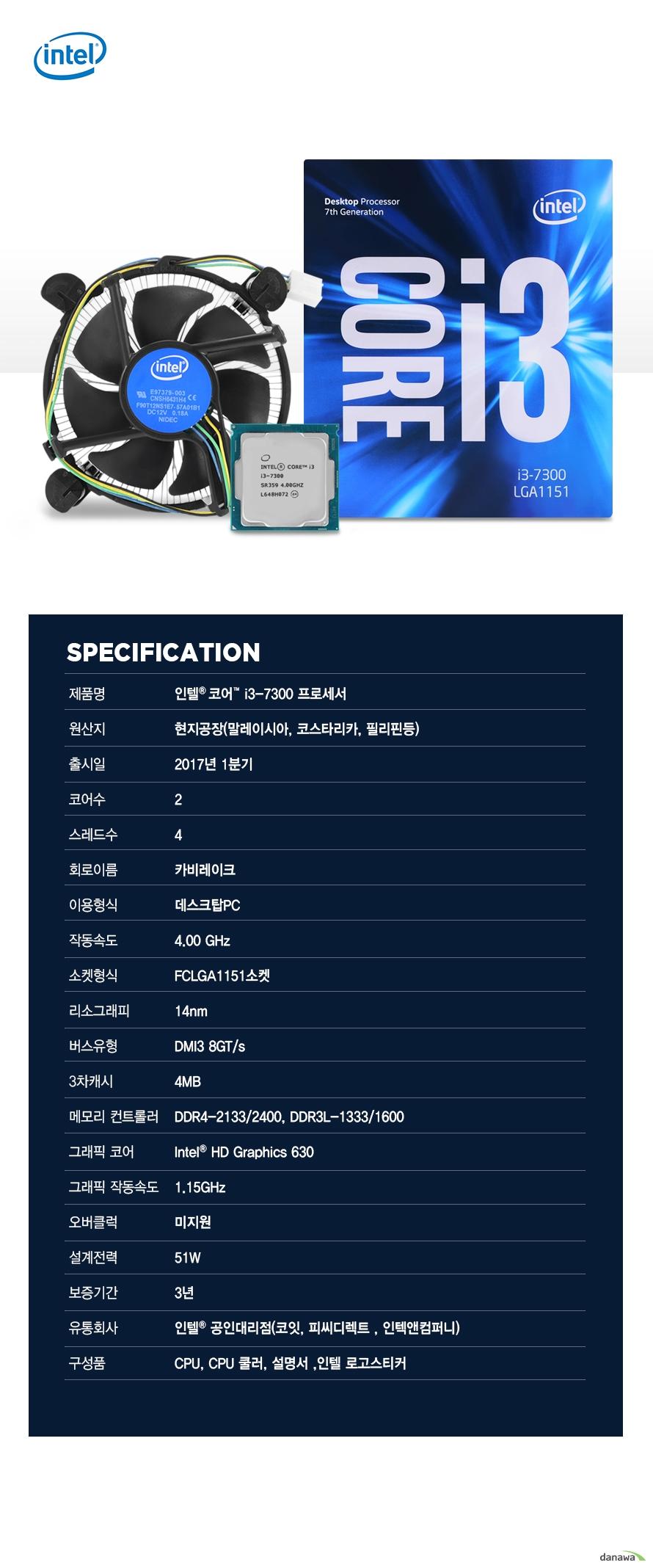 SPECIFICATION                제품명 인텔 코어 i3 - 7300 프로세서                        원산지 현지공장 말레이시아 코스타리카 필리핀등                출시일 2017년 1분기                코어수 2                스레드수 4                회로이름 카비레이크                이용형식 데스크탑PC                작동속도 4.00GHZ                소켓형식 FCLGA1151소켓                리소그래피 14NM                버스유형 DMI3 8GT/S                3차캐시 4MB                메모리 컨트롤러 DDR4-2133/2400 DDR3L-1333/1600                그래픽 코어 INTEL HD GRAPHICS 630                그래픽 작동속도 1.15GHZ                오버클럭 미지원                설계전력 51W                보증기간 3년                유통회사 인텔 공인대리점 코잇 피씨디렉트 인텍엔 컴퍼니                구성품 CPU CPU쿨러 설명서 인텔 로고스티커