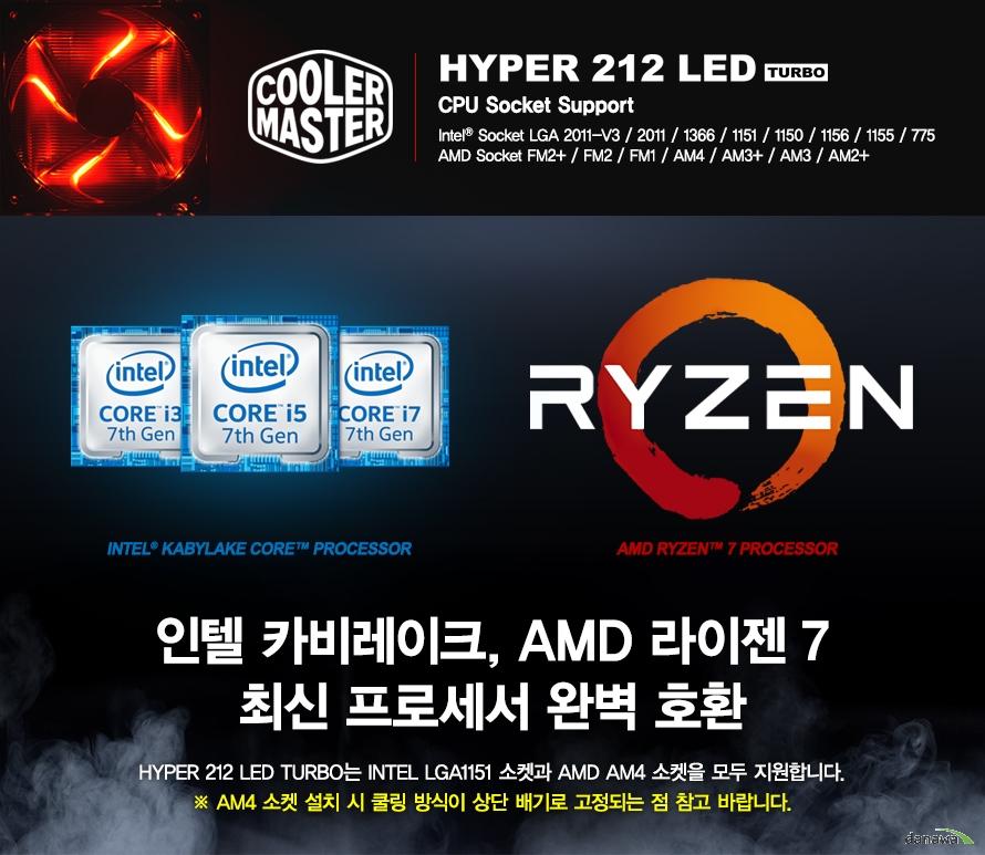 HYPER 212 LED TURBOCPU Socket SupportIntel Socket LGA 2011-V3 / 2011 / 1366 / 1151 / 1150 / 1156 / 1155 / 775AMD Socket FM2+ / FM2 / FM1 / AM4 / AM3+ / AM3 / AM2+인텔 카비레이크, AMD 라이젠 최신 프로세서 완벽 호환HYPER 212 LED TURBO는 인텔 LGA1151 소켓과 AMD AM4 소켓을 모두 지원합니다.