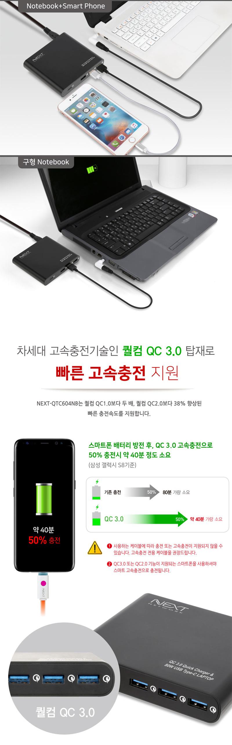 이지넷유비쿼터스 넥스트 USB-PD/QC4.0 80W 4포트 충전기 NEXT-QTC604NB