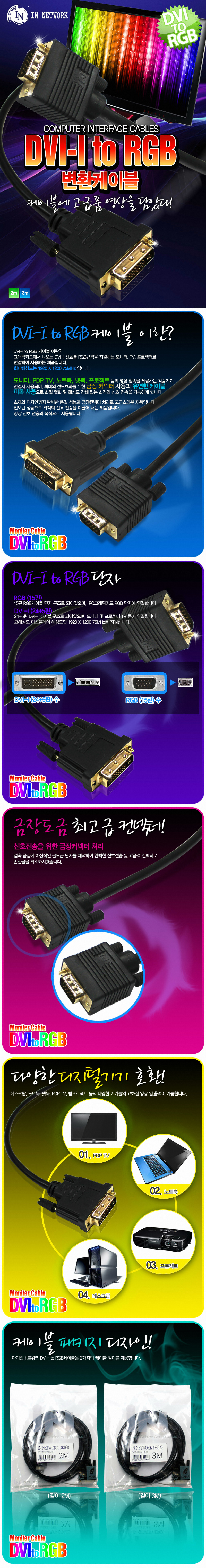 IN NETWORK DVI-I to RGB 변환 케이블 (IN-DR) (2m)