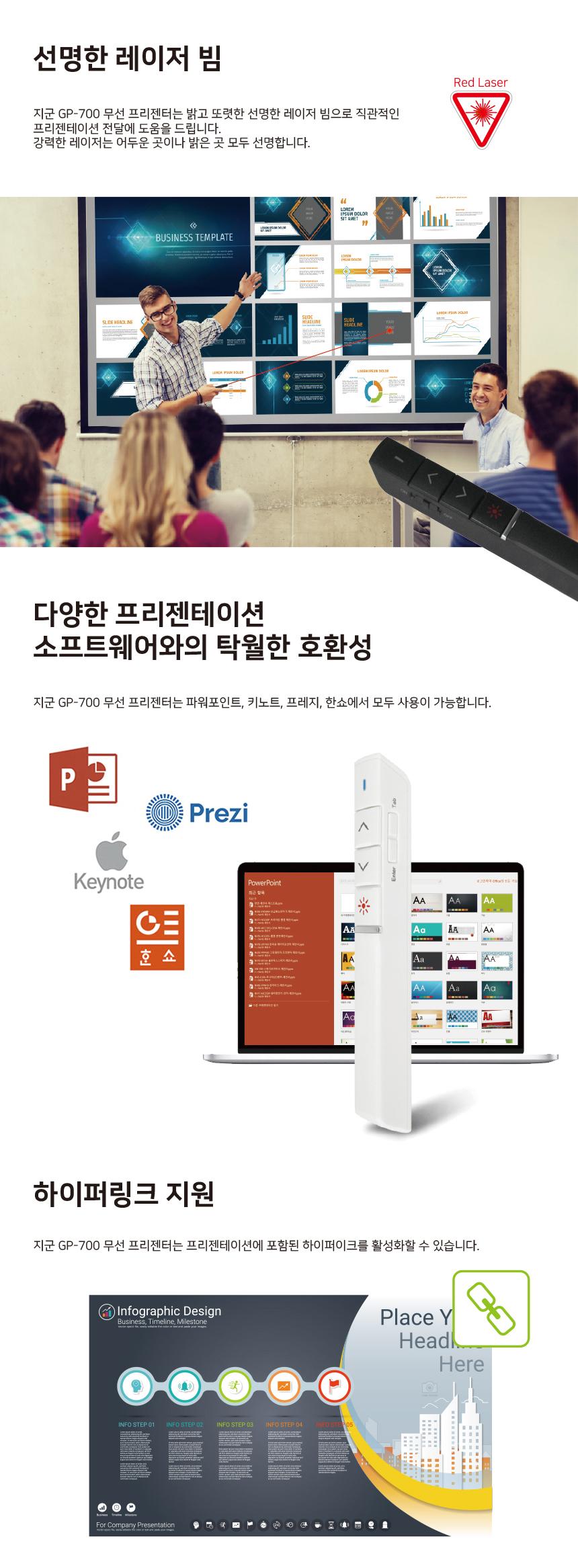 G-GOON GP-700 블랙 무선프리젠터&레이져포인터 (정품)