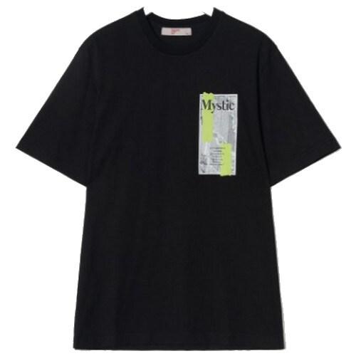 에잇세컨즈 남성 블랙 스퀘어 그래픽 라운드넥 티셔츠 429742DY55_이미지