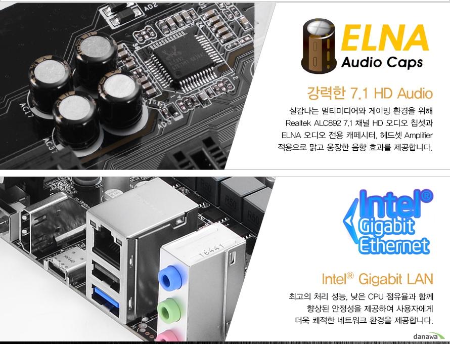 ELNA Audio Caps 강력한 7.1 HD Audio실감나는 멀티미디어와 게이밍 환경을 위해 Realtek ALC892 7.1 채널 HD 오디오 칩셋과 ELNA 오디오 전용 캐페시터, 헤드셋 Amplitier 적용으로 맑고 웅장한 음향 효과를 제공합니다.Intel Gigabit LAN최고의 처리 성능, 낮은 CPU 점유율과 함께 향상된 안정성을 제공하여 사용자에게 더욱 쾌적한 네트워크 환경을 제공합니다.