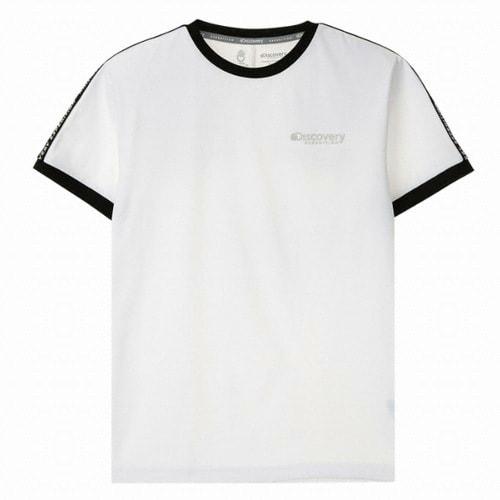 디스커버리익스페디션  소매 로고테이프 라운드 티셔츠 (DXRT6U831-WH, 화이트)_이미지