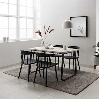 리바트 온라인 브로슈 마블 대리석 식탁세트 1250 (의자4개)_이미지
