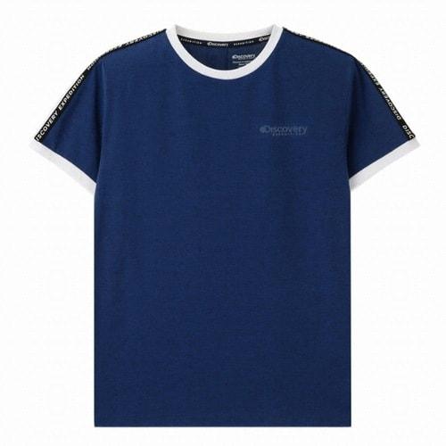 디스커버리익스페디션  소매 로고테이프 라운드 티셔츠 (DXRT6U831-BL, 블루)_이미지
