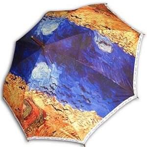레인보우 헬로우레인캣츠 고흐 까마귀나는 밀밭(W) 자동 우산_이미지