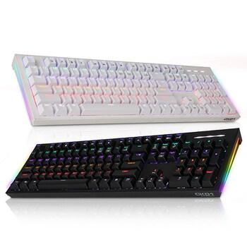 COX CK01 교체축 사이드 RGB 게이밍 기계식 키보드 (블랙, 갈축)