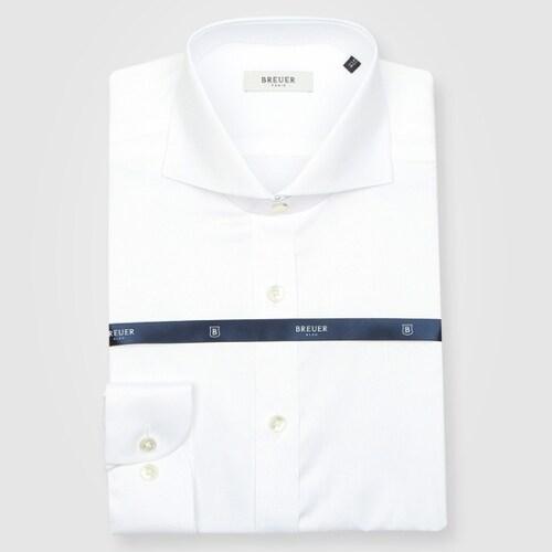 에스제이듀코 브로이어블루 긴소매 수입원단 와이드카라 화이트 슬림핏 셔츠 ED7FM51LS016EWH_이미지