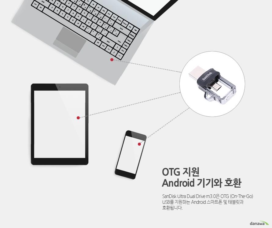 OTG 지원 Android 기기와 호환    SanDisk Ultra Dual Drive m3.0은 OTG (On-The-Go) USB를 지원하는 Android 스마트폰 및 태블릿과 호환됩니다.