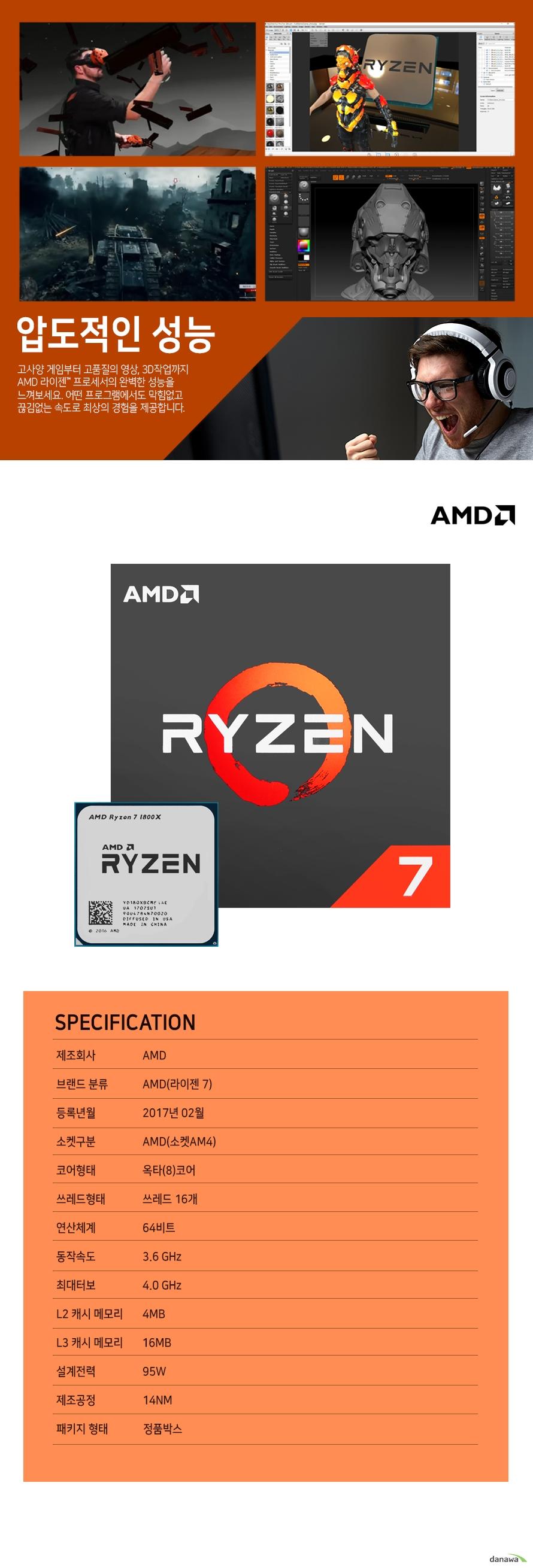 압도적인 성능                    고사양 게임부터 고품질의 영상 , 3D 작업까지 AMD 라이젠 프로세서의          완벽한 성능을 느껴보세요. 어떤 프로그램에서도 막힘없고 끊김없는          속도로 최상의 경험을 제공합니다.                    SPECIFICATION          제조 회사 AMD          브랜드 분류 AMD(라이젠 7)          등록년월 2017년 2월          소켓구분 AMD(소켓 AM4)          코어형태 옥타(8)코어          쓰레드 형태 쓰레드 16개          연산체계 64비트          동작속도 3.6GHZ          최대 터보 4.0GHZ          L2 캐시 메모리 4MB          L3 캐시 메모리 16MB          설계전력 95W          제조공정 14NM          패키지 형태 정품박스
