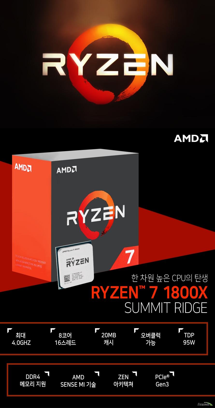 한 차원 높은 CPU의 탄생         RYZEN 7 1800X         SUMMIT RIDGE                  최대 4.0GHZ          8코어 16스레드         20MB 캐시         오버클럭 가능         TDP 95W         DDR4 메모리 지원         AMD SENSE MI 기술         ZEN 아키텍쳐         PCle Gen 3