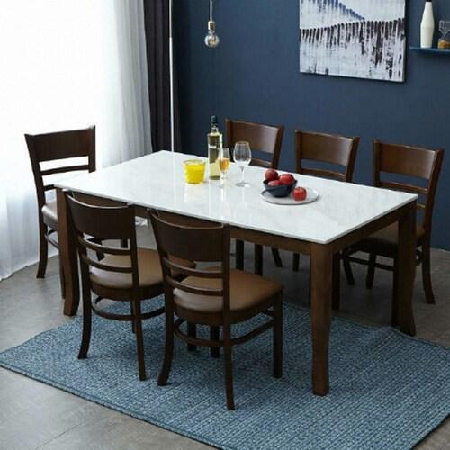 아씨방 미켈 대리석 식탁세트 1600 (의자6개)_이미지