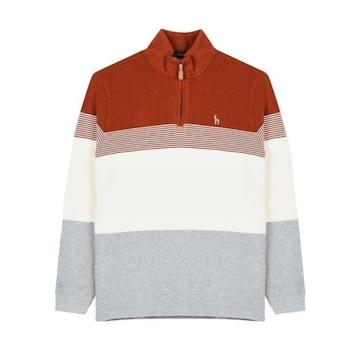 LF 헤지스(HAZZYS) 오렌지 스트라이프 배색 면 반집업 티셔츠 HZTS7D531O2