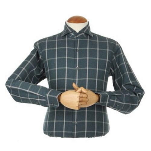 지엠아이 밴브루 체크 와이드 그린 슬림 셔츠 BGFSL2112GE_이미지