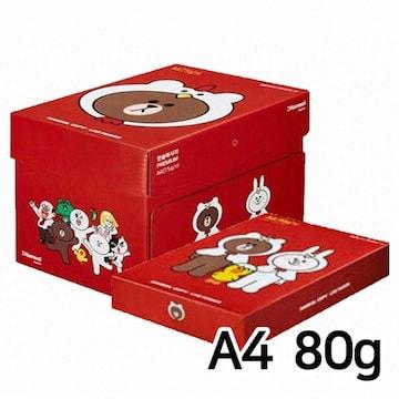 한솔제지 라인프렌즈 브라운 복사용지 A4 80g 500매 (5개, 2500매)